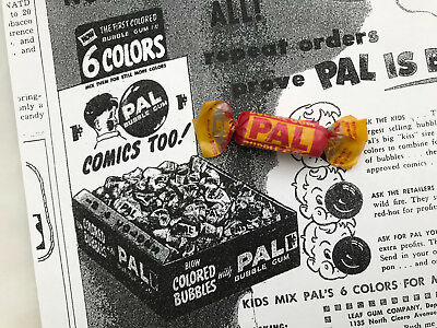 1940's Leaf Pal Bubble Gum Piece Unopened w/ 1948 Ad Topps Fleer Wrapper Comic