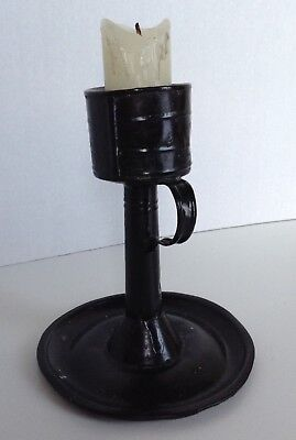 OLD EARLY TIN CANDLE HOLDER CHAMBER STICK BLACK PAINT~RARE 19th CENTURY Handmade