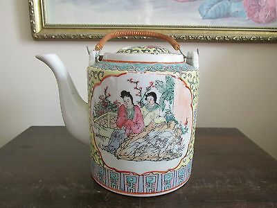 Vintage Chinese Porcelain Famille Rose Turquoise Yellow Teapot CPC Macau