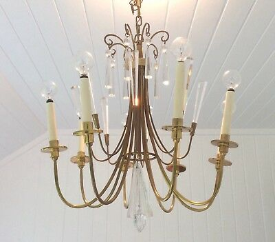 Mid Century Modern Tommi Parzinger Style 8 Arm Brass & Crystal Chandelier