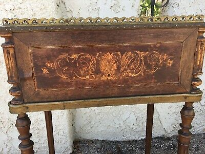 Antique French Wood Inlay Plant Stand with Decorative Metal Accents