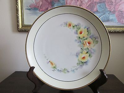 """Vintage KPM Germany Hand Painted Plate Yellow Roses 8.5"""" Signed Floral"""