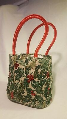 "Longaberger Homestead Christmas Holly Purse Bag 6"" x 6.5"" Red Green Sequins"