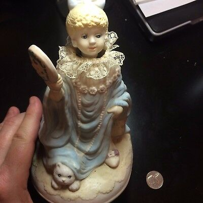 Antique Vintage Collectible Dress up girl musical figurine moving