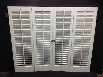 """Vintage Shabby Wood Interior Louver Window Shutters 29"""" H X35"""" W"""