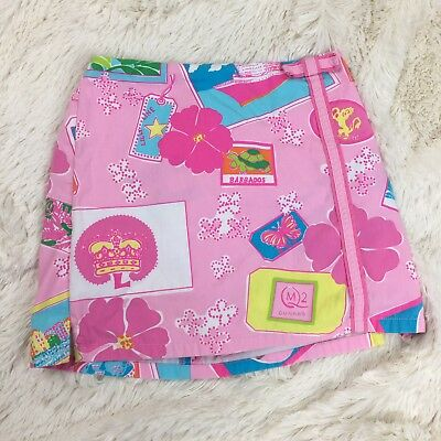 Lilly Pulitzer SZ 6X Girls Skort, White Label, Pink and Blue Barbados Travel