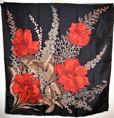 "Beautiful Vintage Italian Designer Silk Scarf, 30"" Square, Bold Floral Design"