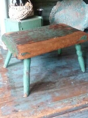 Early PRIMITIVE Antique Original Dry GREEN PAINT wooden Stool
