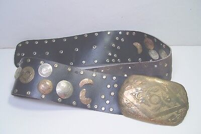 Vintage Moroccan Made Leather Belt With Silver And Brass Ornamentations.