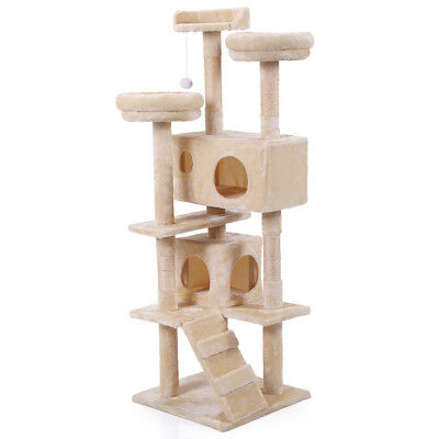 """60"""" Cat Tree Tower Condo Furniture Scratching Post Pet Kitty Play House Beige"""
