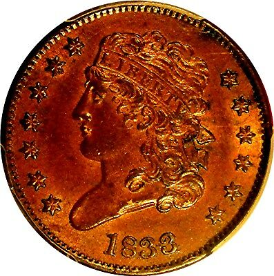 1833 Classic Head Half Cent  +++ Certified Pcgs Ms-63 Cac +++