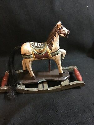 "Wooden Rocking Horse Hand Carved & Painted Figurine 9.5""x 8"""