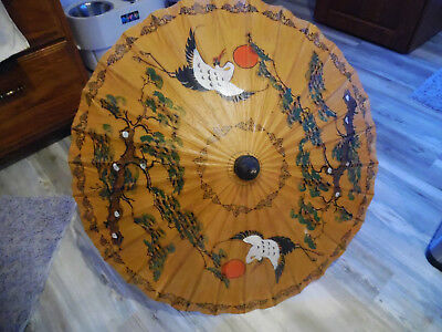 Vintage Bamboo & Rice Paper Parasol Wth.crane & Trees,reduced!