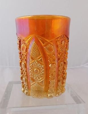 Vintage Imperial Diamond and Lace Carnival Glass Tumbler Marigold
