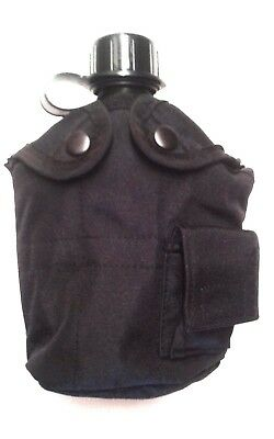 Westrooper 1Lt Black Military Canteen And Black Pouch Combo Molle / Front Pocket