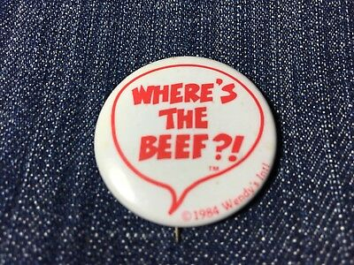 """Vtg """"Where's the Beef?"""" Pinback Pin 1984 Wendy's Button Advertising Commercial"""