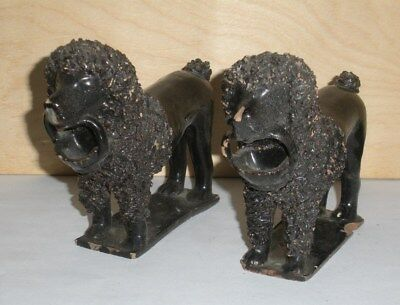 """Antique PAIR of 6"""" Dogs   Staffordshire Pottery    POODLES    as-is"""