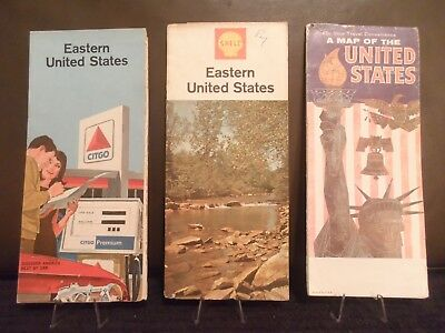 Road Map Lot (3) Pan American Shell Citgo Eastern United States U.s. 1960's