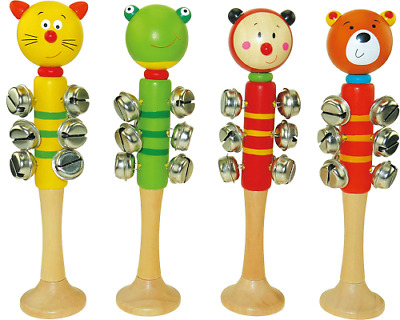 WOODEN Animal Bellstick BABY MUSIC TOY Frog Ladybird Cat Bear NON TOXIC 0mths+