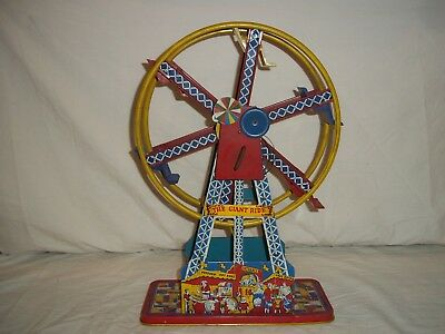 VINTAGE 1950s OHIO ARTS TIN LITHOGRAPHED GIANT RIDE WIND UP FERRIS WHEEL