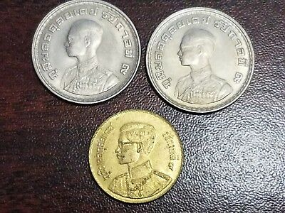 LOT OF 3 THAILAND BAHT COINS c. 1960's  #FJ14A