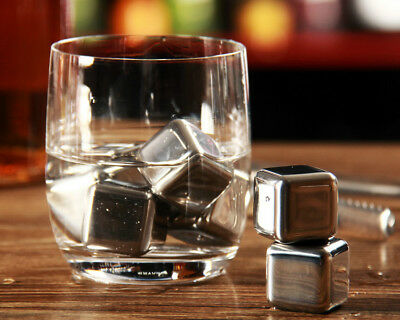 Whiskey Whisky Stone Scotch Glacier Ice Cubes Rocks Stainless Steel Heart Bullet