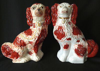 """Pair of antique Staffordshire dogs russet / white spaniels 12.5"""""""