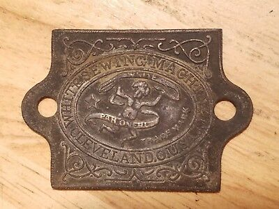 Early Antique White Sewing Machine Badge Logo Emblem Plate Tag Cleveland O.