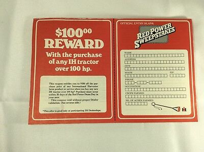 International Harvester Red Power Sweepstakes Entry Forms 1979