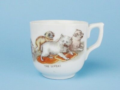 ANTIQUE German Porcelain CHILDREN'S CUP Cat Dogs PUG & SPITZ