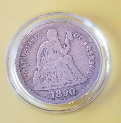 "1890 Seated Liberty Silver Dime ~ Full Liberty"" Nice Details - Very Nice Coin !!"