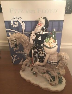 Fitz and Floyd Bristol Holiday Large Santa on a Horse Figurine New In Box