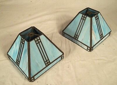Vintage Pair Of Arts+Crafts Blue Slag Stained Glass Lamp Shades