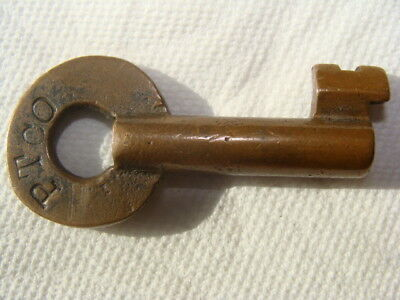 Obsolete Brass Key Antique Original Vintage Marked Pt Adlake Hollow Open Barrel