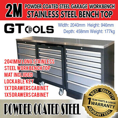 2M Stainless Steel Garage Workshop Workbench Cabinets and Tool Drawers
