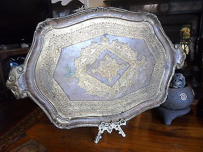 Vintage Retro Large French Baroque Ornate Victorian Old Gold Tray Plaque