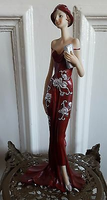 Art Deco Lady Red Silver Rose Figurine Statue Vintage Charleston Shabby Chic