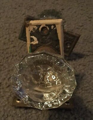 Vintage Glass Doorknob Set With Brass Hardware Lock And Plates 12 Sided