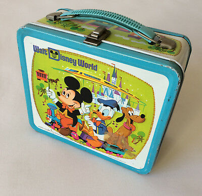 Vtg 70s Walt Disney World Metal Tin Lunch Box With Thermos Mickey Country Bears