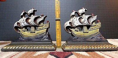 Antique Lacquered Cast Iron Sailing Ship Bookends Art Craft Products Chicago