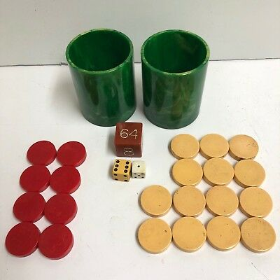 Catalin Bakelite Backgammon Set Green Cups Doubling Cube Game Pieces Dice