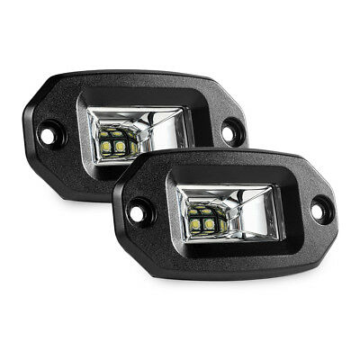 20W Off-Road Flush Mount LED Work Light Bar Pods Flood fit Pickup Boats Jeep