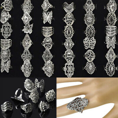 80/50/30pcs Wholesale Bulk Jewelry Lots Mixed Style Tibet Silver Vintage Rings