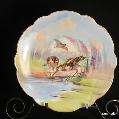 Limoges LRL Plate 1920's Scalloped Hand Painted by Huchs Sand Piper Birds w/Gold