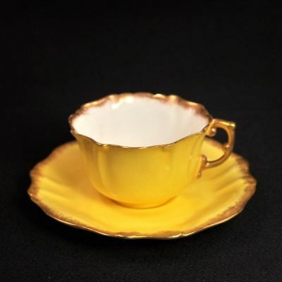 Hammersley Ovington Bros Cup & Saucer Set Bright Yellow w/Sponged Gold 1890-1920