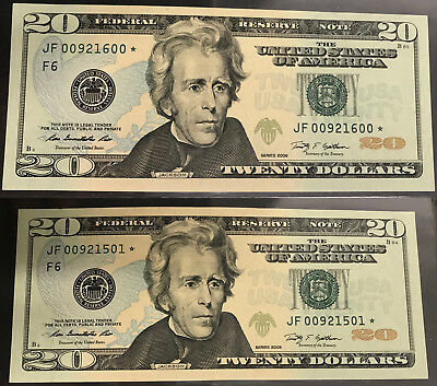 STAR NOTES 2x $20 Bills Pair 20 Dollar Note US A American New Mint UNC RARE PAIR
