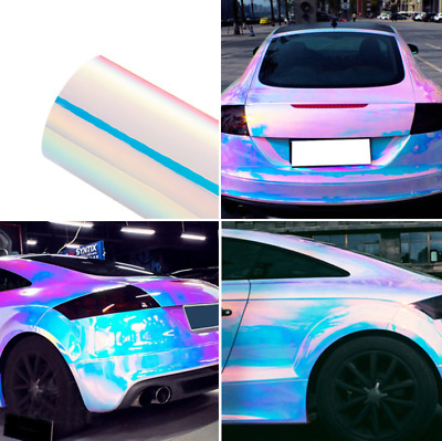 1.35Mx20CM Holographic Laser Pearl White Chrome Iridescent Vinyl Film Car Wrap