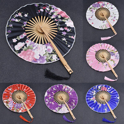 Floral Pattern Japanese Folding Windmill Fan Cosplay Party Wedding Decor Supply