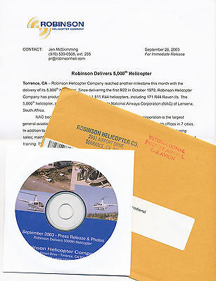 Robinson Helicopter Presse-Info + CD 9/03 press release 5000th Helikopter USA
