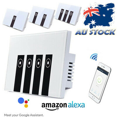 Smart Home Wifi Wall Light Touch Panel Switch App For Alexa Google Home 1-4 Gang